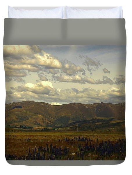 Tawny Mountains And Purple Vipers Bugloss At Omarama Duvet Cover