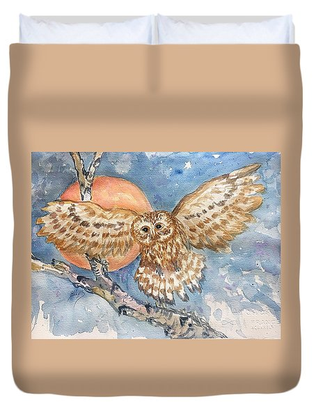 Tawny Owl And Hunters Moon  Duvet Cover