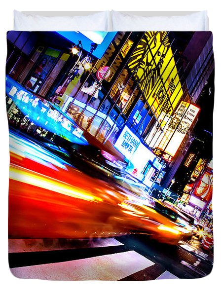 Taxis In Times Square Duvet Cover by Az Jackson