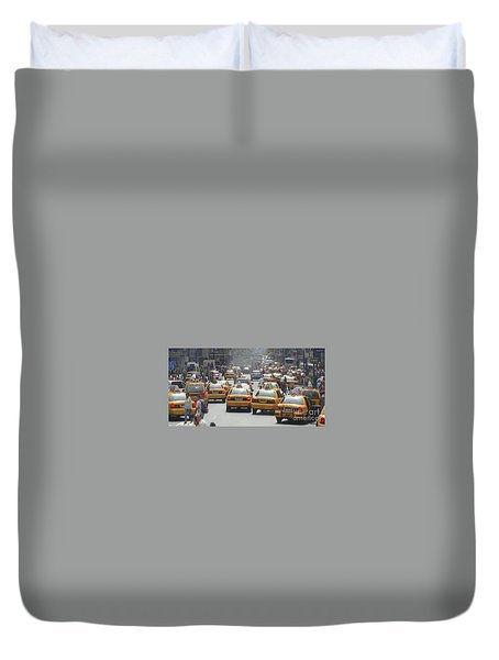 Duvet Cover featuring the painting Taxis - Times Square  by Rod Jellison