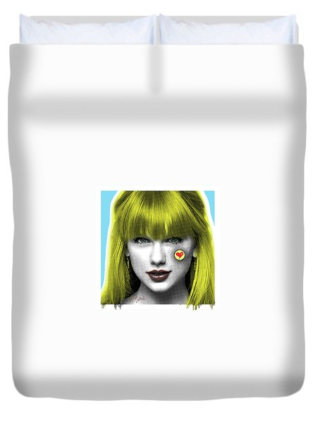 Taylor Swift, Pop Art, Portrait, Contemporary Art On Canvas, Famous Celebrities Duvet Cover by Dr Eight Love