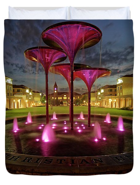 Duvet Cover featuring the photograph Tcu Frog Fountain by Jonathan Davison