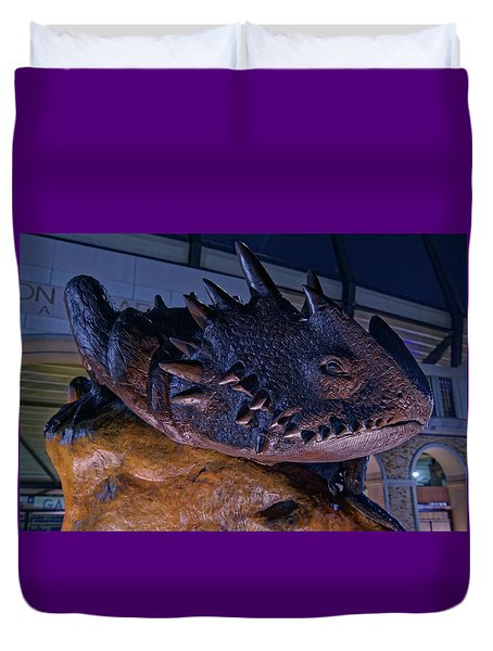 Duvet Cover featuring the photograph Tcu Frog Mascot by Jonathan Davison