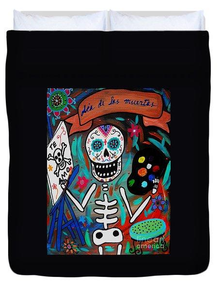 Duvet Cover featuring the painting Te Amo Painter Dia De Los Muertos by Pristine Cartera Turkus