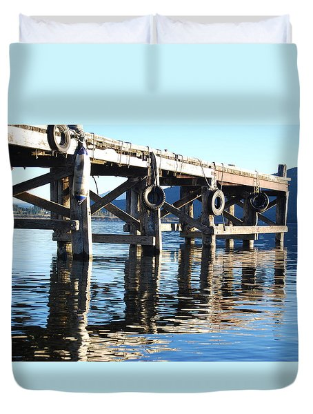 Duvet Cover featuring the photograph Te Anau Pier by Jocelyn Friis