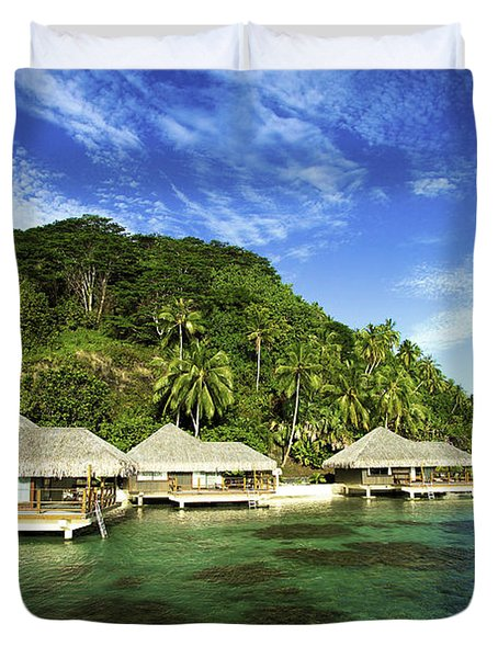 Te Tiare Resort Duvet Cover by David Cornwell/First Light Pictures, Inc - Printscapes