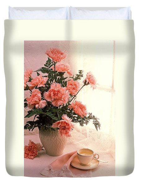 Tea Cup With Pink Carnations Duvet Cover by Garry Gay