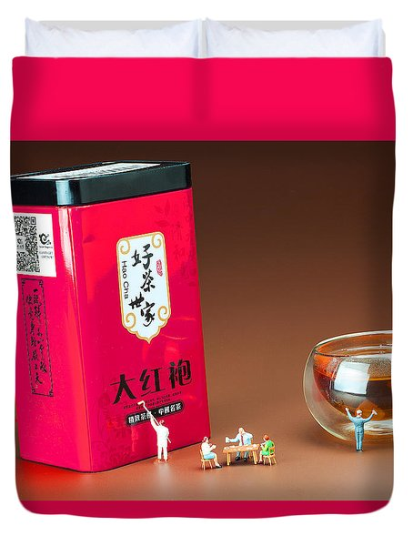 Duvet Cover featuring the photograph Tea Drinking In A Family Little People Big World by Paul Ge