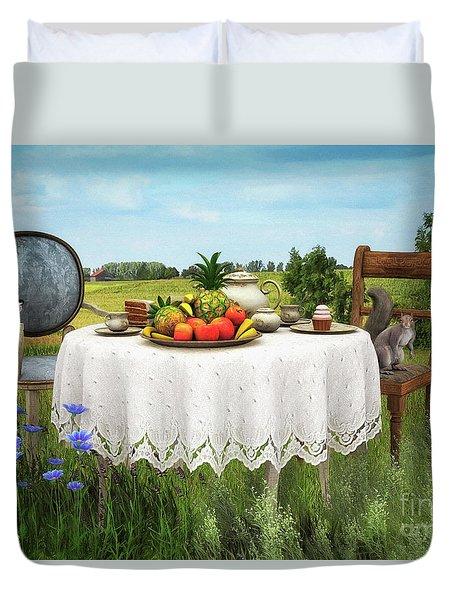 Duvet Cover featuring the digital art Tea For Two by Jutta Maria Pusl