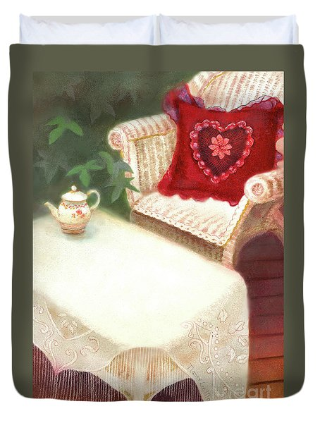 Duvet Cover featuring the painting Tea In A Victorian Cottage Garden by Nancy Lee Moran