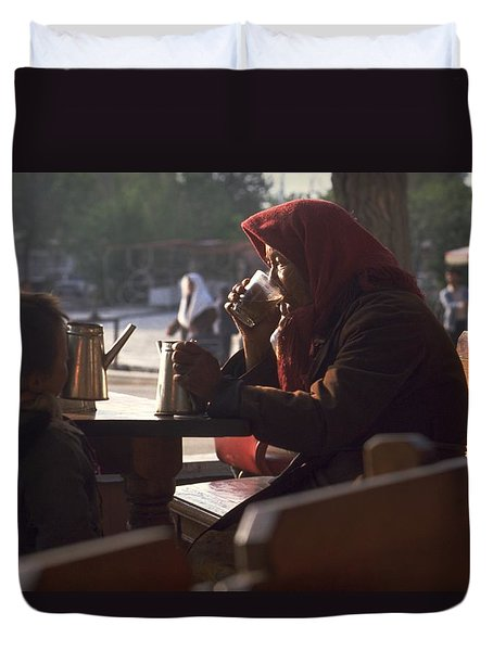 Duvet Cover featuring the photograph Tea In Tashkent by Travel Pics