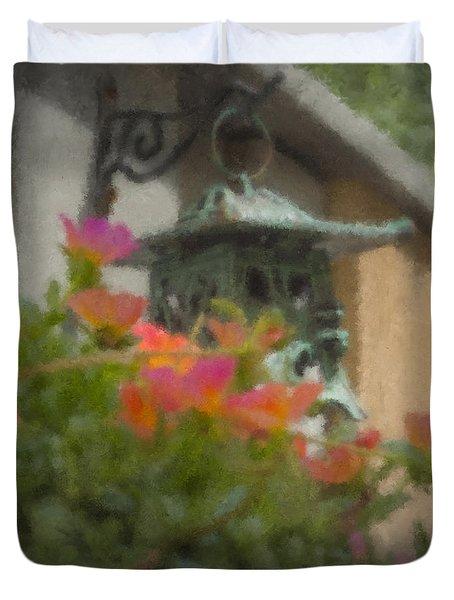 Tea Lantern And Portulaca Duvet Cover