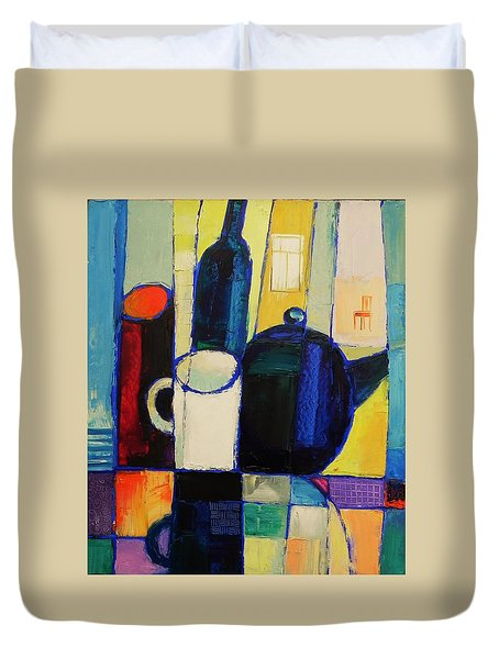 Duvet Cover featuring the painting Tea by Mikhail Zarovny