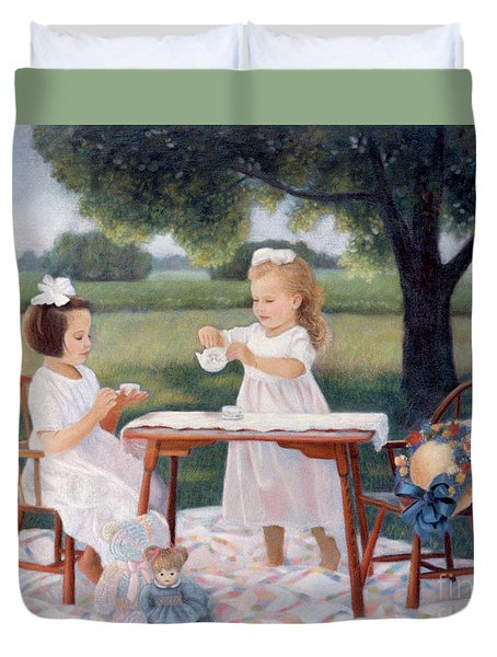 Duvet Cover featuring the pastel Tea Party by Nancy Lee Moran
