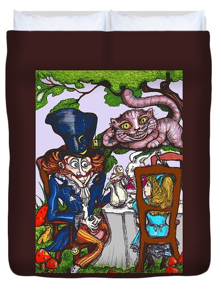 Duvet Cover featuring the drawing Tea Party by Rae Chichilnitsky