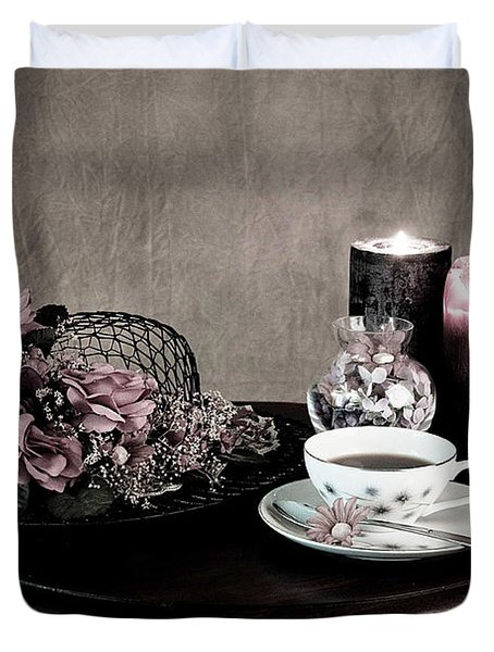 Duvet Cover featuring the photograph Tea Party Time by Sherry Hallemeier