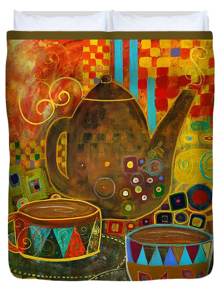 Tea Party With Klimt Duvet Cover by Robin Maria Pedrero
