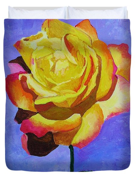 Duvet Cover featuring the painting Tea Rose by Rodney Campbell