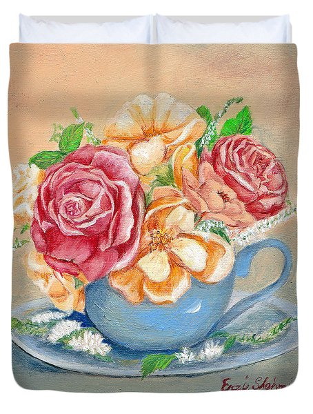 Tea Roses Duvet Cover