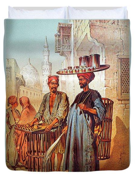 Duvet Cover featuring the photograph Tea Seller by Munir Alawi