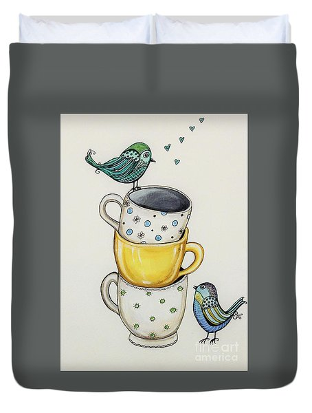 Tea Time Friends Duvet Cover by Elizabeth Robinette Tyndall