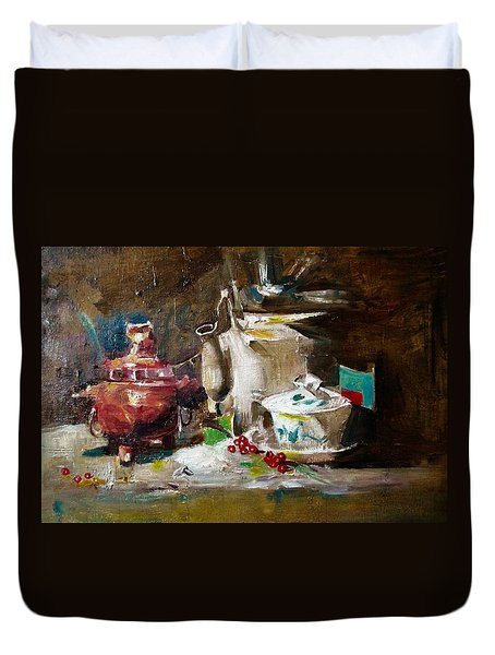 Tea Time Duvet Cover by Khalid Saeed