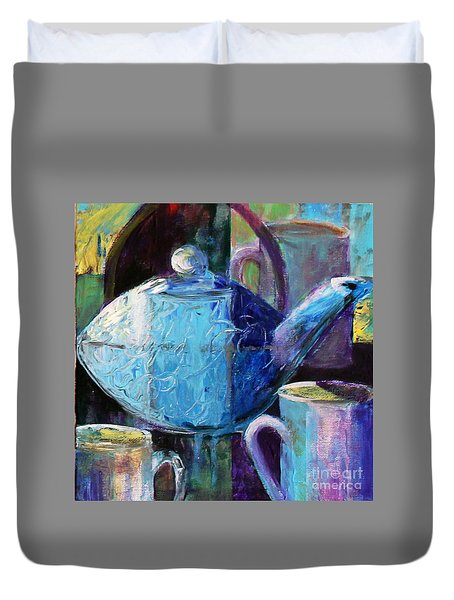 Duvet Cover featuring the photograph Tea With Friends by Priti Lathia