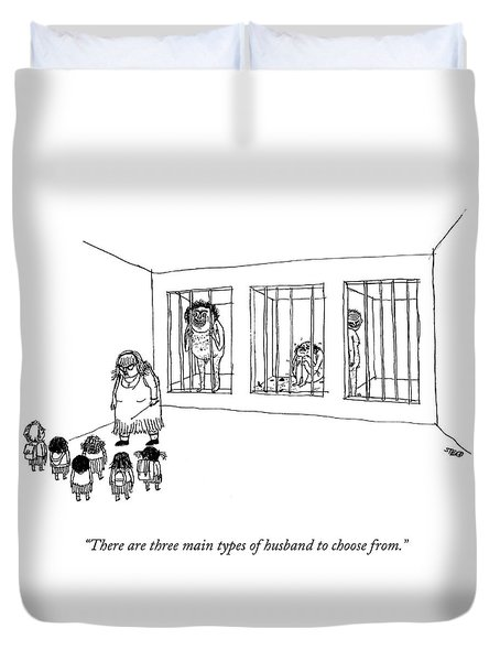 Teacher Shows Three Men In Cages To Little Girls. Duvet Cover by Edward Steed