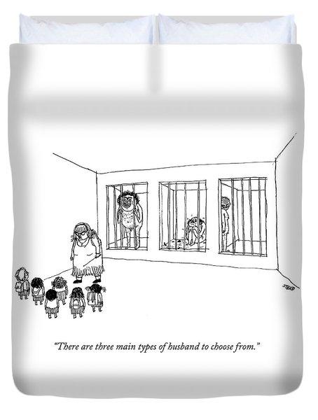 Teacher Shows Three Men In Cages To Little Girls. Duvet Cover