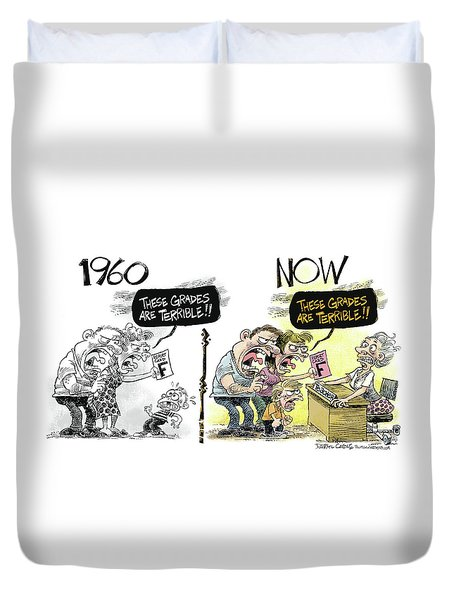 Teachers Then And Now Duvet Cover