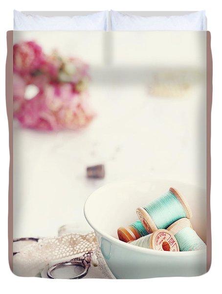 Teacup Full Of Vintage Spools Of Thread Duvet Cover