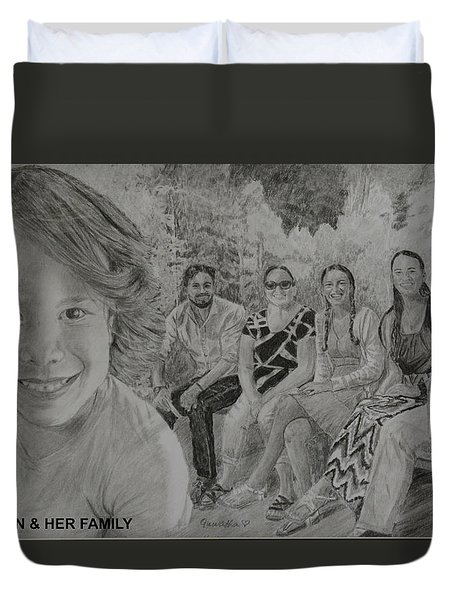Teagan And Her Family Duvet Cover