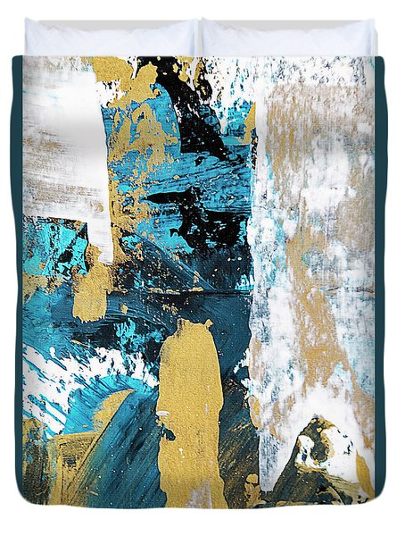 Duvet Cover featuring the painting Teal Abstract by Christina Rollo