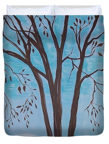 Duvet Cover featuring the painting Teal And Brown by Leslie Allen