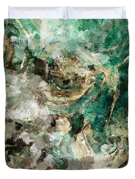 Duvet Cover featuring the painting Teal And Cream Abstract Painting by Ayse Deniz
