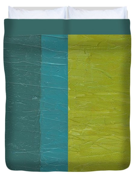 Teal And Olive  Duvet Cover by Michelle Calkins