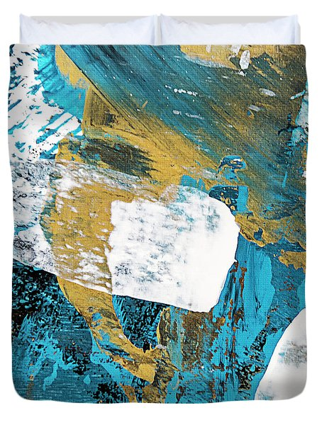 Teal Blue Abstract Painting Duvet Cover