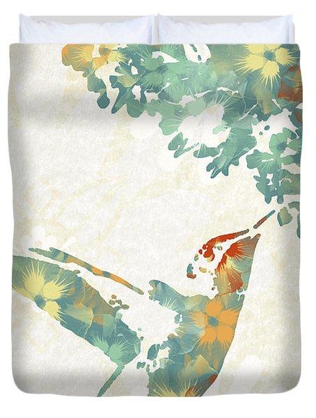 Floral Hummingbird Art Duvet Cover