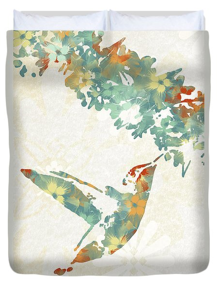 Floral Hummingbird Art Duvet Cover