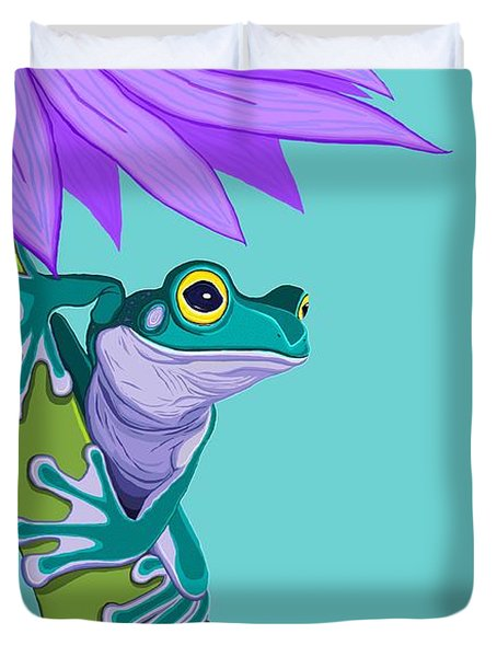 Teal Frog And Purple Flower Duvet Cover