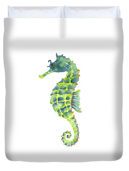 Teal Green Seahorse Duvet Cover by Amy Kirkpatrick