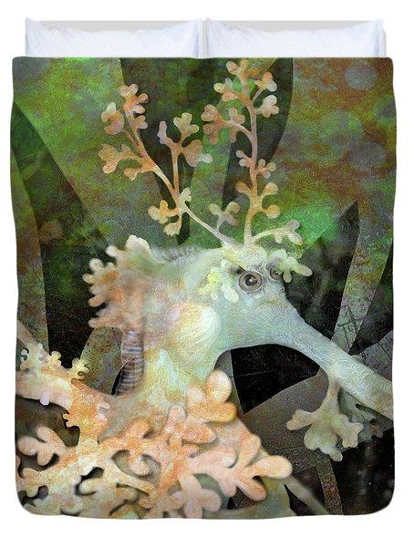 Teal Leafy Sea Dragon Duvet Cover