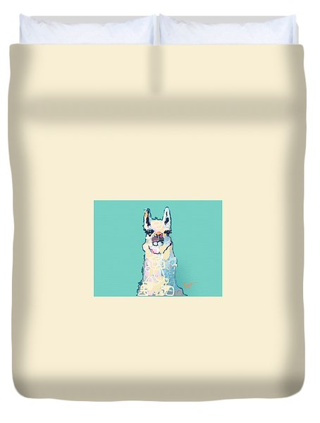 Teal Llama Duvet Cover