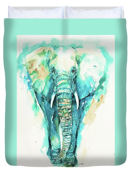 Teal N Turquoise Elephant Duvet Cover