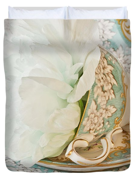 Teal Peony For Real  Duvet Cover