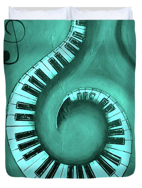 Teal - Swirling Piano Keys - Music In Motion  Duvet Cover