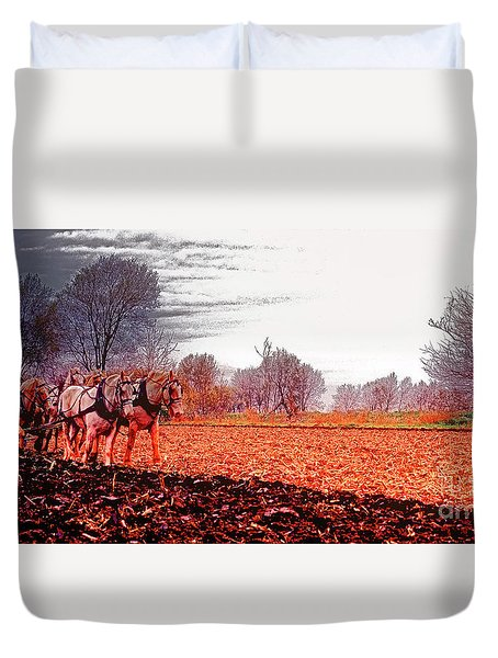 Team Of Draft Horses Plowing Early Spring  Duvet Cover