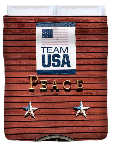 Duvet Cover featuring the photograph Team Usa Peace by Betty Denise