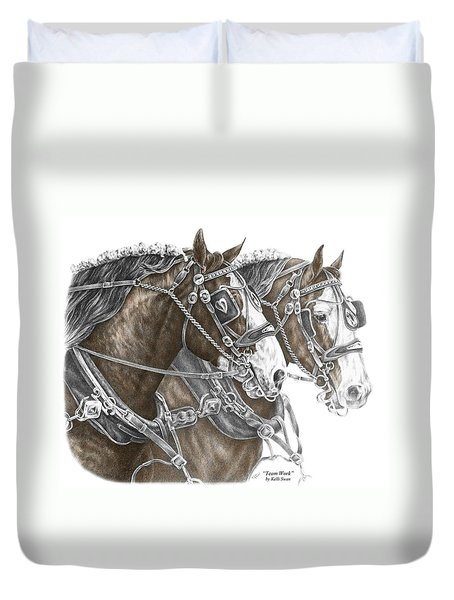 Team Work - Clydesdale Draft Horse Print Color Tinted Duvet Cover