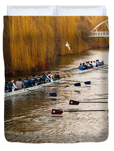Teams Of Rowers On River Cam Duvet Cover